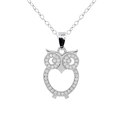 1d9b668b61f3a Cate & Chloe Ari Wisdom 18k White Gold Plated Owl Pendant Necklace, Silver  Owl Necklace w/Cluster Round Cut Cubic Zirconia CZ Necklaces for Women, ...