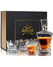 KANARS Whisky Decanter Set in Unique Stylish Gift Box, Lead Free Crystal Whiskey Decanter with 4 Glass Tumblers, 5-Piece