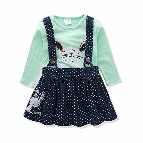 - Baby Girl Clothes Set Denim Suspender Skirt Embroidered T-shirt Bunny Flower Butterfly (2t, Green)