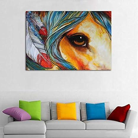 Amazon Com Faicai Art Indian War Horse Pinturas Lienzo Impresiones De Ojos Espirituosos Coloridos Abstractos Animales Arte De Pared Hd Impreso Pintura Al óleo Moderna Decoración Del Hogar Fotos Para Sala De Estar