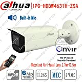 DaHua IPC-HDBW4631H-ZSA 6MP WDR Home Outdoor Hallway Bullet Security CCTV IP Camera POE H.265 IR 60M Built-in Mic POE IR 60m Motorized Zoon 2.7mm-13.5mm Lens IP67