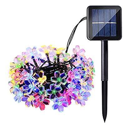Qedertek Cherry Blossom Solar String Lights, 23ft 50 LED Waterproof Outdoor Decoration Lighting for Indoor/Outdoor, Patio, Lawn, Garden, Christmas, and Holiday Festivals (Multi-color)