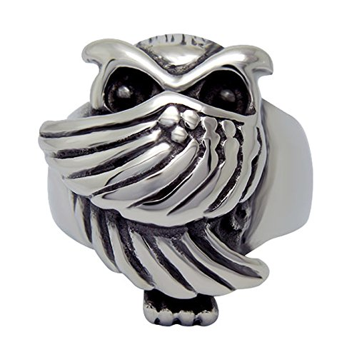 stainless steel owl ring - 1