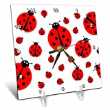 Cheap 3dRose image with Many Different Sized Ladybugs on White Background. – Desk Clock, 6 by 6-Inch (dc_211985_1)