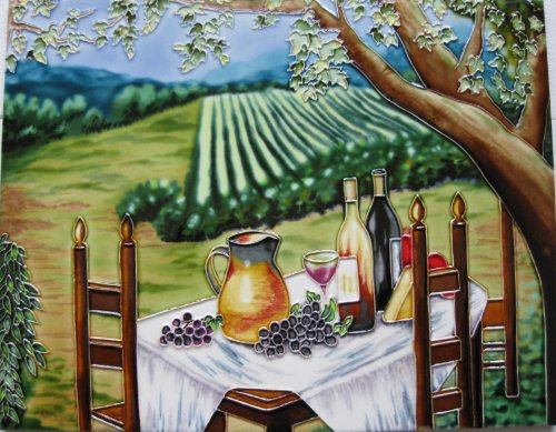 Continental Art Center HD-025 11 by 14-Inch Vineyard with Table and Chairs Ceramic Art ()