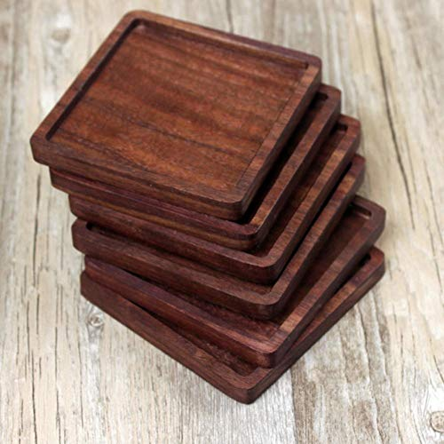 (Shantan Heat Insulation Wooden Tea Coffee Cup 5pcs Coaster Ceremony Accessories Decor Walnut Square Thickening Placemat Coasters Holder Mat Pads for Drinks Beech Bowl Set Kitchen Pot Table Dish Trays)