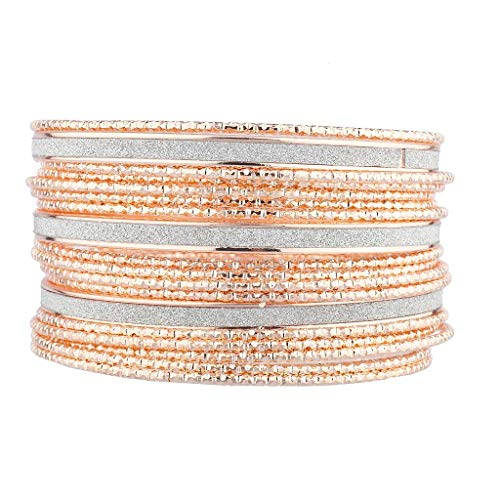 (Lux Accessories Rose Gold Silver Sticker Glitter Crystal Rhinestone Bangle Bracelet Set)