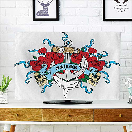 Auraisehome Protect Your TV Anchor Head Bones Skeleton Roses Bouquet Dolphin Wildlife Danger Navy Traveling Protect Your TV W32 x H51 INCH/TV 55