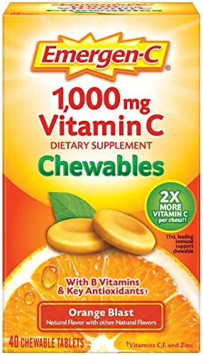 Emergen-C Chewable Vitamin C 1000mg, With B Vitamins And Antioxidants Tablet (40 Count, Orange Blast Flavor), Dietary Supplement