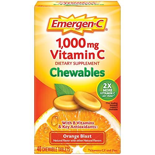 Emergen-C Chewable Vitamin C 1000mg, With B Vitamins And Antioxidants Tablet (40 Count, Orange Blast Flavor), Dietary Supplement, Multi