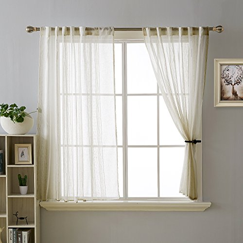Polyester Stripes Curtain - Deconovo Vertical Stripe Woven Curtains with Chenille Rod Pocket Curtains Sheer Voile Curtains Window Curtains for Nursery 52 x 63 Inch Beige and White 2 Panels