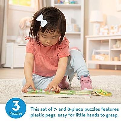 Melissa & Doug Animals Wooden Peg Puzzles Set - Farm, Pets, and Ocean: Melissa & Doug: Toys & Games