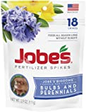 Jobe's Fertilizer Spikes for Bulbs and Perennials 9-12-6 Time Release Fertilizer for Tulips, Daffodils and all Other Bulb Perennials, 18 Spikes Per Package