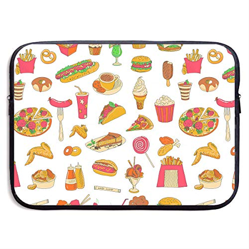 Price comparison product image Ministoeb Pizza Hot Dog Doughnut Chips Food Laptop Storage Bag - Portable Waterproof Laptop Case Briefcase Sleeve Bags Cover