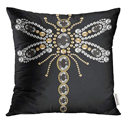 (UPOOS Throw Pillow Cover Beautiful of Flying Dragonfly Shiny Gold Silver and Black with Diamonds and Jewelry Abstract Decorative Pillow Case Home Decor Square 16x16 Inches Pillowcase)