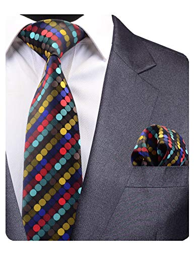 GUSLESON Brand New Colorful Dots Silk Tie and Pocket Square Set Mens Wedding Necktie (0779-04))