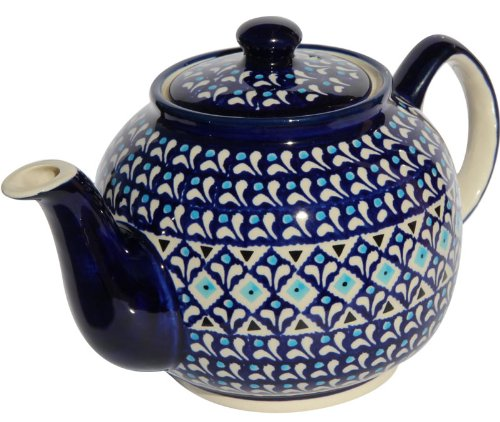 "Polish Pottery Teapot From Zaklady Ceramiczne Boleslawiec #596-217a Classic Pattern, Height: 5.6"" Capacity: 0.9 Qt."