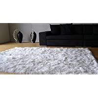 Luxury Hypoallergenic 100% Peruvian Suri Baby Alpaca Carpet, (79x79) downside covered with Peruvian Pima Cotton 600-Tc, Natural White ivory - no colorants, Organic, Silky, Antibacterial, Handmade