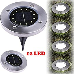 XEDUO LED Solar Powered Ground Light, 12LED Solar Power Buried Light Ground Lamp Light Spot Lamp for Outdoor Path Way Yard Garden Decking Lawn Waterproof (Silver)