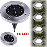 XEDUO LED Solar Powered Ground Light, 12LED Solar Power Buried Light Ground Lamp Light Spot Lamp for Outdoor Path Way Yard Garden Decking Lawn Waterproof (Silver) Review