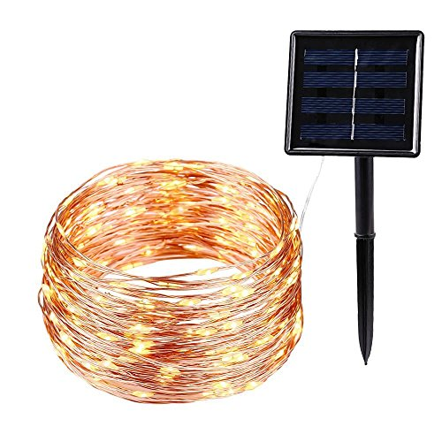 Solar String Lights, 200 LED Starry String Lights, Indoor/Outdoor Waterproof Copper Wire Lights for Gardens, Gazebo, Roof, Home, Dancing, Yard, Party, Wedding Decorative (Warm White) by J YJ