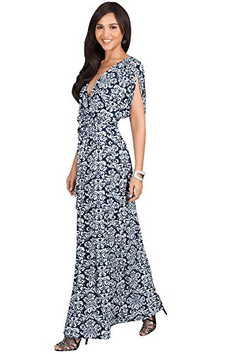 KOH KOH Petite Womens Long V-Neck Short Sleeve Bohemian Print Flowy Cocktail Maxi Dress Elegant Summer Casual Evening Maternity Cute Gown Gowns Dresses for Women, Navy Blue and White S 4-6
