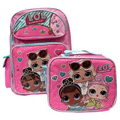 L.O.L Surprise! Small Backpack 16'' & Lunch bag 2pc set Pink School Bag Girls LOL