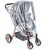 NESHE Baby Stroller Rain Cover and Mosquito Net (2 Pieces Set) - Universal Weather Shield and Bug Net for Umbrella Plastic Stroller - Windproof Waterproof Stroller Accessories