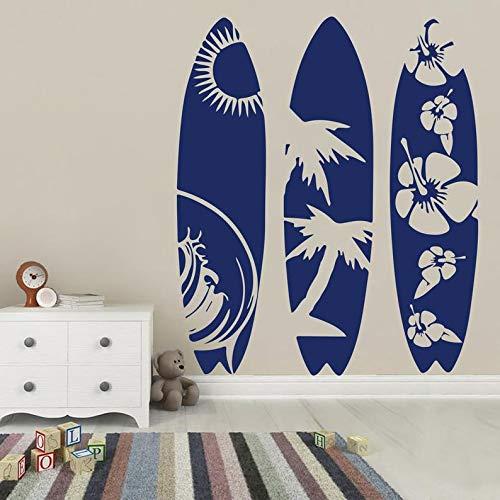 - BYRON HOYLE Surfboard Set of 3 Wall Decal,Surf Wave Summer Beach Decal,Extreme Sport Sea Surfboard Wall Sticker Vinyl Decal Art Decor,Bedroom Living