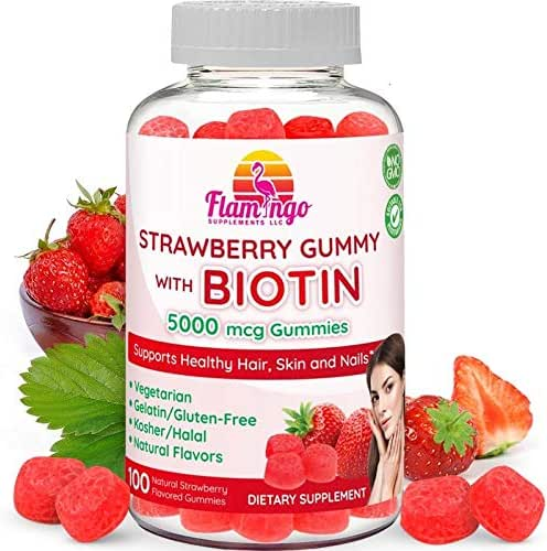 Flamingo Supplements - Biotin Gummies 10,000 mcg serving for Women & Men with Non GMO Gluten Free Natural Strawberry Flavor| Vegetarian, Kosher Halal Vitamins for Hair & Nails | 100 Count
