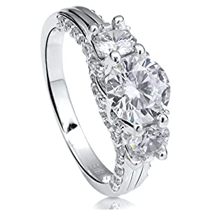 BERRICLE Rhodium Plated Sterling Silver Cubic Zirconia CZ 3-Stone Art Deco Engagement Ring Size 8