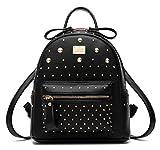 Santwo Women's Mini Rivets Waterproof PU Leather Shoulder Bag Casual Daypack Backpack (black)