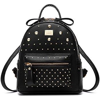 ba0067e9883a Santwo Women s Mini Rivets Waterproof PU Leather Shoulder Bag Casual  Daypack Backpack (black)