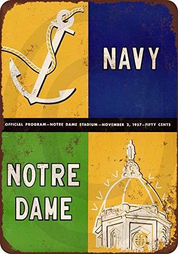 qidushop 1957 Navy Vs. Notre Dame Official Program Reproducción Metal Estaño Signos para decoración del hogar Pared Post inauguración de casa Regalo 30 x 45 cm