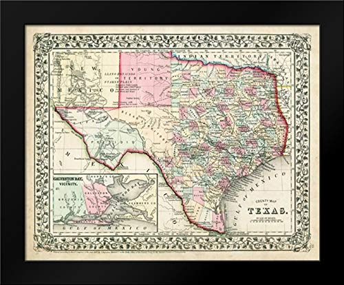 Johnsons Map of Texas 24x20 Framed Art Print by Johnson ()