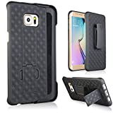 Galaxy S6 Edge Plus Case, De-bin Samsung S6 Edge Plus Cases with Belt Clip Super Slim Hard Armor Holster Case Cover with Kickstand and Swivel Belt Clip for S6 Edge+ (2015) - Black