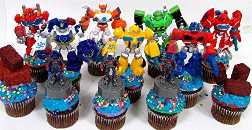 12 Piece TRANSFORMER Birthday Cupcake Topper Set Featuring RANDOM Transformer Figures and Accessories