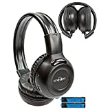 """1 Two Channel Folding Adjustable Universal Rear Entertainment System Infrared Headphone With Additional 48"""" 3.5mm Auxiliary Cord Wireless IR DVD Player Head Phone for in Car TV Video Audio Listening With Superior Sound Quality"""