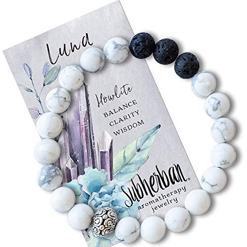 (Subherban Essential Oil Bracelets - Aromatherapy Bracelet - LUNA Lava Rock Anxiety Bracelet - Handmade Jewelry - Gifts for Women)
