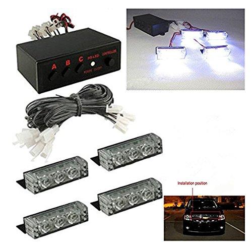 hite Car Truck Emergency Grill Strobe Warning Light 3 Flash Modes ()