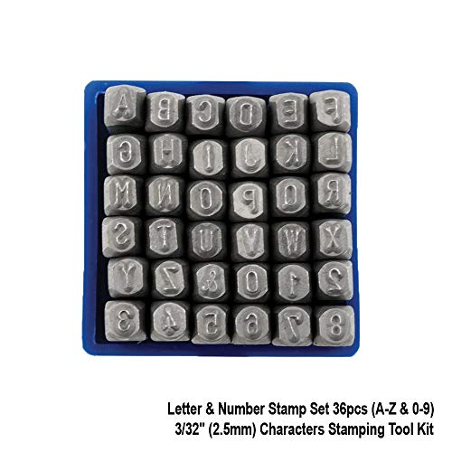"Letter & Number Stamp Set 36pcs (A-Z & 0-9) Hardened High Carbon Steel Metal Punch Set 3/32"" (2.5mm) Characters Stamping Tool Kit for Imprinting Metal, Wood, Plastic, Leather & More."