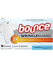 Bounce WrinkleGuard Mega Dryer Sheets, Fabric Softener and Wrinkle Releaser Sheets, Unscented, 80 count