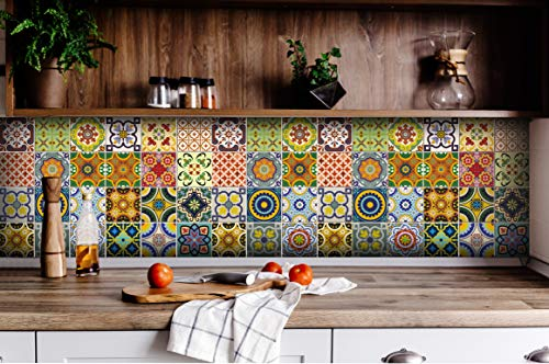 Tile Stickers 24 PC Set Traditional Talavera Tiles Stickers Bathroom & Kitchen Tile Decals Easy to Apply Just Peel & Stick Home Decor 6x6 Inch (Kitchen Tiles Stickers C1) by Alma-Art (Image #3)