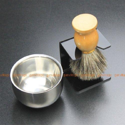 Best BADGER Hair Shaving Brush+Stainless Steel Bowl+ Black Brush Stand