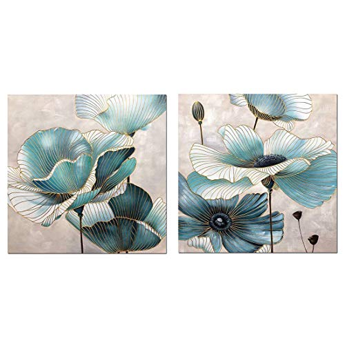 - Boiee Art,32x32Inch 2Piece Oil Hand Paintings Gloden Teal Green Lotus Flower Canvas Paintings Landscape Artwork Abstract Floral Wall Art Wood Inside Framed Ready to Hang Home Decoration