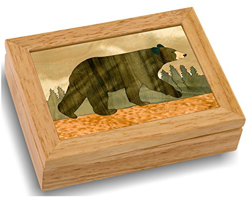 Wood Art Bear Box - Handmade in USA - Unmatched Quality - Unique, No Two are the Same - Original Work of Wood Art. A Black Bear Gift, Ring, Trinket or Wood Jewelry Box (#4111 Black Bear 4x5x1.5) (Black Yogi Bear)
