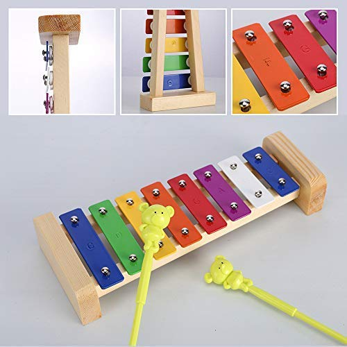 Large Product Image of Xylophone for Kids: Best Holiday/Birthday DIY Gift Idea for your Mini Musicians, Musical Toy with Child Safe Mallets, Perfectly Tuned Instrument for Toddlers, Musical Cards and Harmonica Included
