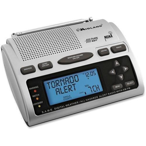 Midland Weather Alert Radio, 23 Code, AC/Batt Power, Black