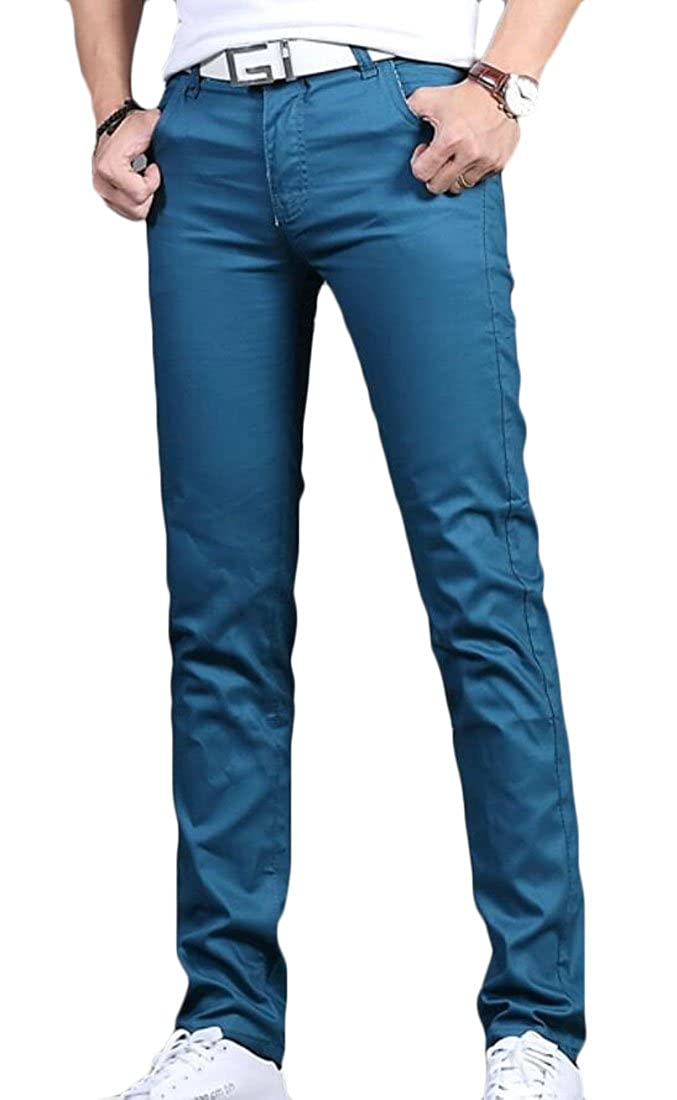 Rrive Mens Casual Plain Solid Color Slim Fit Straight Leg Flat-Front Chino Pants