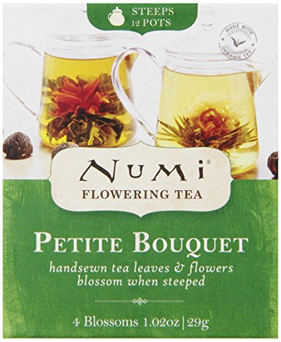 Numi Organic Tea Petite Bouquet, 4 Count Box of Flowering Tea Blossoms (Packaging May -